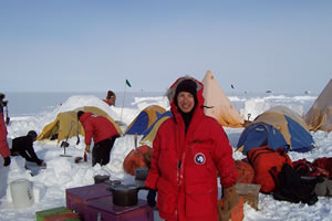 Carol at outdoor survival training in Antarctica